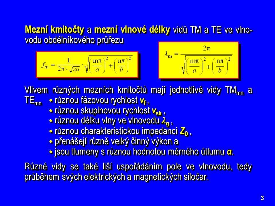 3 Mezní kmitočty a mezní vlnové délky vidů TM a TE ve vlno- vodu obdélníkového průřezu Vlivem různých mezních kmitočtů mají jednotlivé vidy TM mn a TE