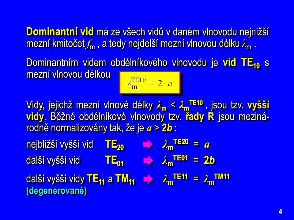 4 Dominantní vid má ze všech vidů v daném vlnovodu nejnižší mezní kmitočet f m, a tedy nejdelší mezní vlnovou délku λ m. Při postupném zvyšování kmito