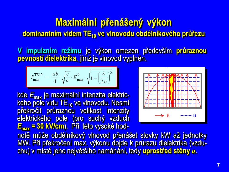 8 V kontinuálním (CW) režimu je maximální přenášený výkon omezen oteplením stěn vlnovodu [ kW ] Δ T [°C] přípustné oteplení povrchu vlnovodu l obv délka vnějšího obvodu průřezu vlnovodu  [dB/m]měrný útlum vlnovodu vlivem ztrát v jeho kovových stěnách Δ T [°C] přípustné oteplení povrchu vlnovodu l obv délka vnějšího obvodu průřezu vlnovodu  [dB/m]měrný útlum vlnovodu vlivem ztrát v jeho kovových stěnách
