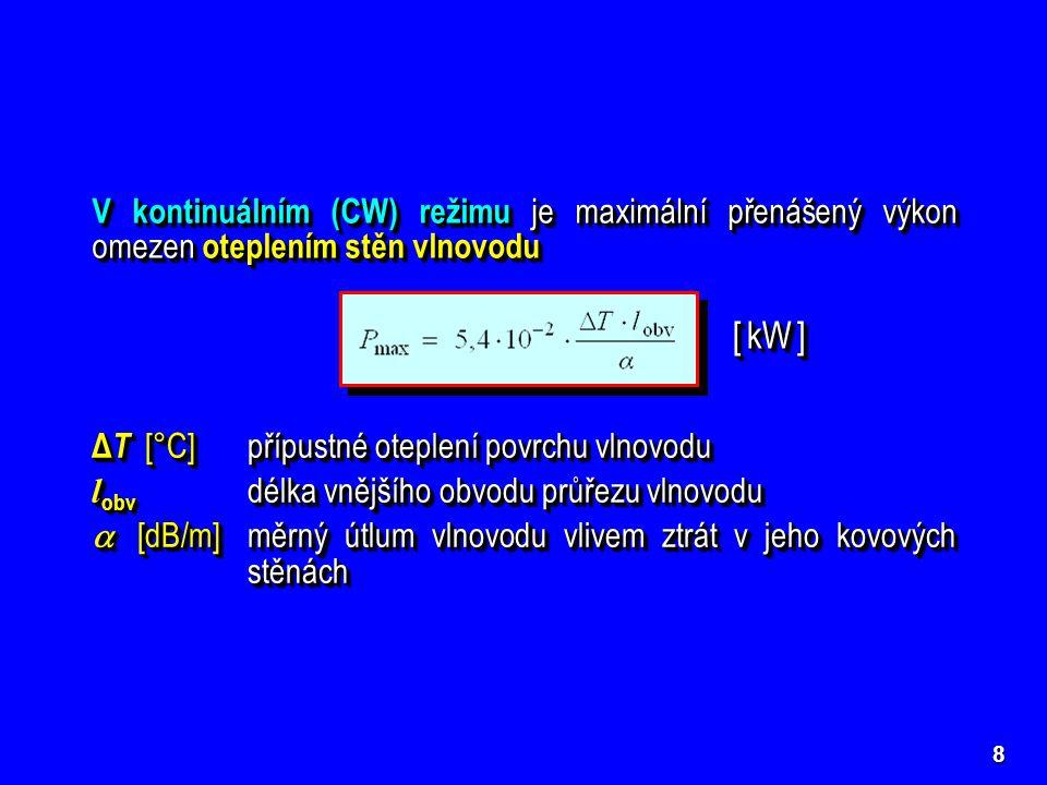 8 V kontinuálním (CW) režimu je maximální přenášený výkon omezen oteplením stěn vlnovodu [ kW ] Δ T [°C] přípustné oteplení povrchu vlnovodu l obv dél