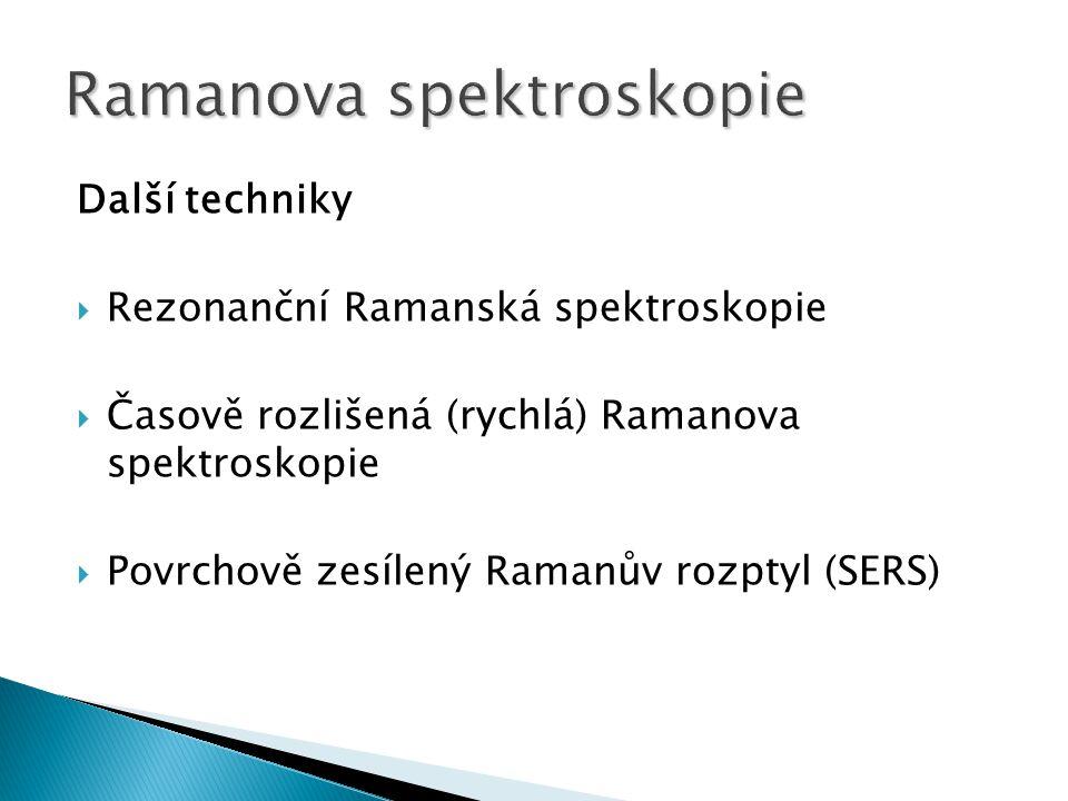 Další techniky  Rezonanční Ramanská spektroskopie  Časově rozlišená (rychlá) Ramanova spektroskopie  Povrchově zesílený Ramanův rozptyl (SERS)