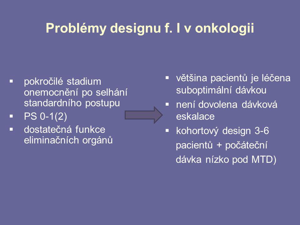 Problémy designu f. I v onkologii  pokročilé stadium onemocnění po selhání standardního postupu  PS 0-1(2)  dostatečná funkce eliminačních orgánů 