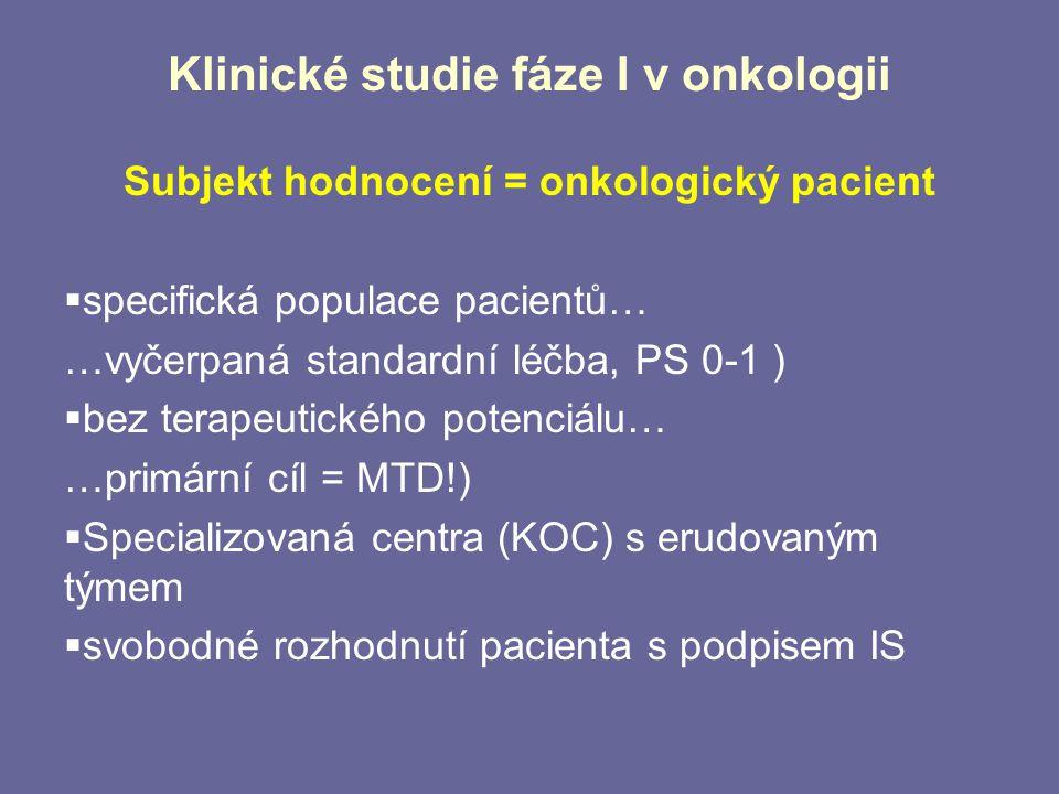 Klinické studie fáze I v onkologii Subjekt hodnocení = onkologický pacient  specifická populace pacientů… …vyčerpaná standardní léčba, PS 0-1 )  bez