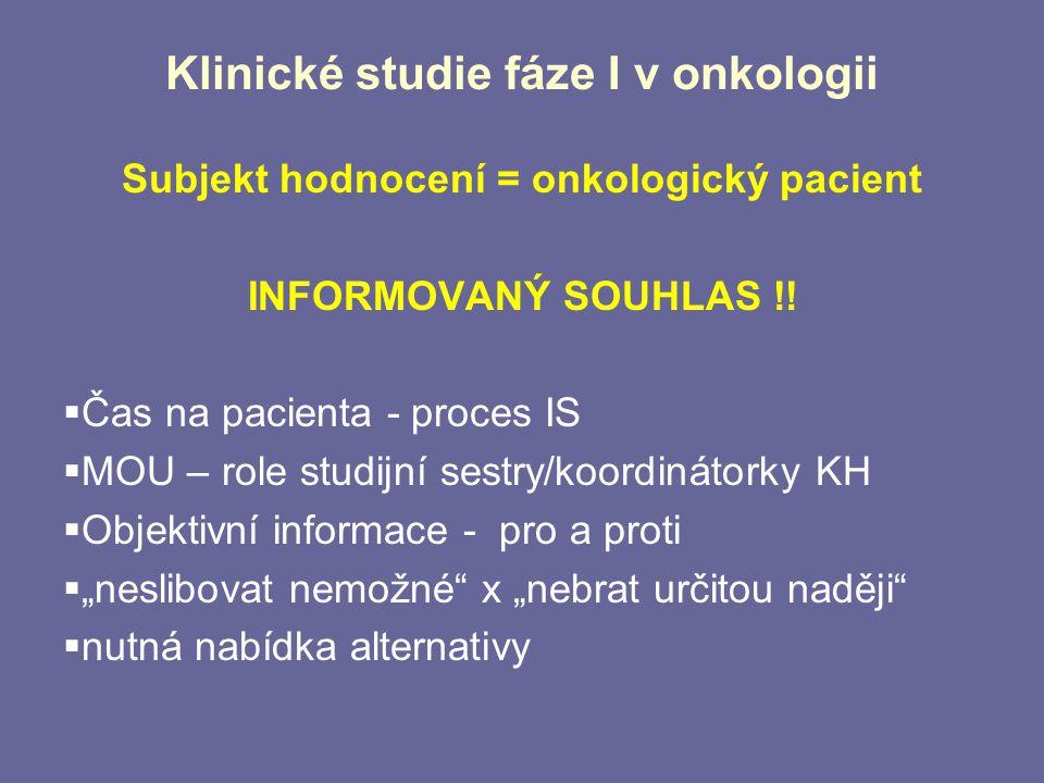 Klinické studie fáze I v onkologii Subjekt hodnocení = onkologický pacient INFORMOVANÝ SOUHLAS !!  Čas na pacienta - proces IS  MOU – role studijní