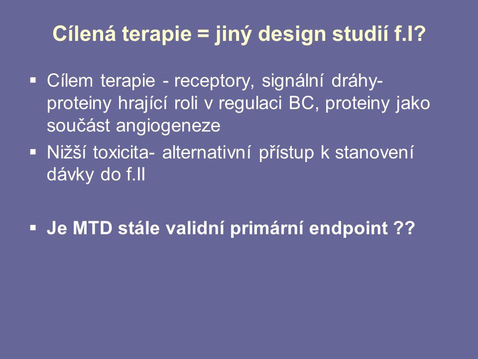 Cílená terapie = jiný design studií f.I?  Cílem terapie - receptory, signální dráhy- proteiny hrající roli v regulaci BC, proteiny jako součást angio