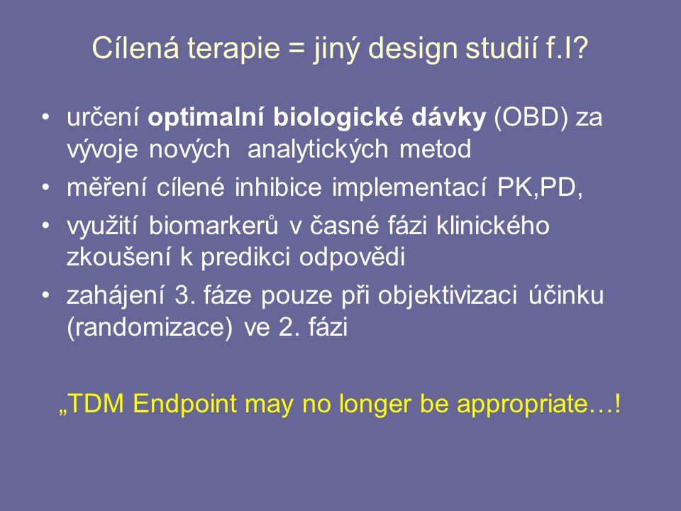 Cílená terapie = jiný design studií f.I? určení optimalní biologické dávky (OBD) za vývoje nových analytických metod měření cílené inhibice implementa