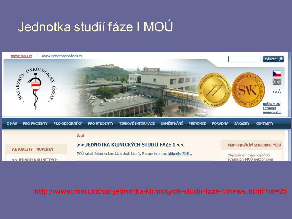 Jednotka studií fáze I MOÚ http://www.mou.cz/cz/-jednotka-klinickych-studii-faze-1/news.html?id=25