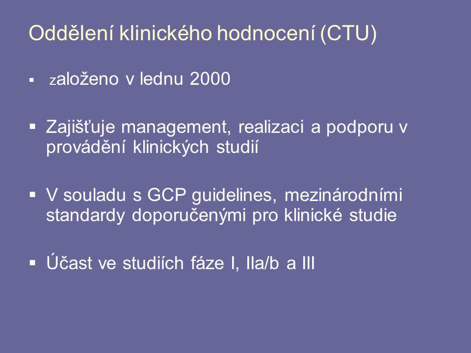 Oddělení klinického hodnocení (CTU)  z aloženo v lednu 2000  Zajišťuje management, realizaci a podporu v provádění klinických studií  V souladu s G