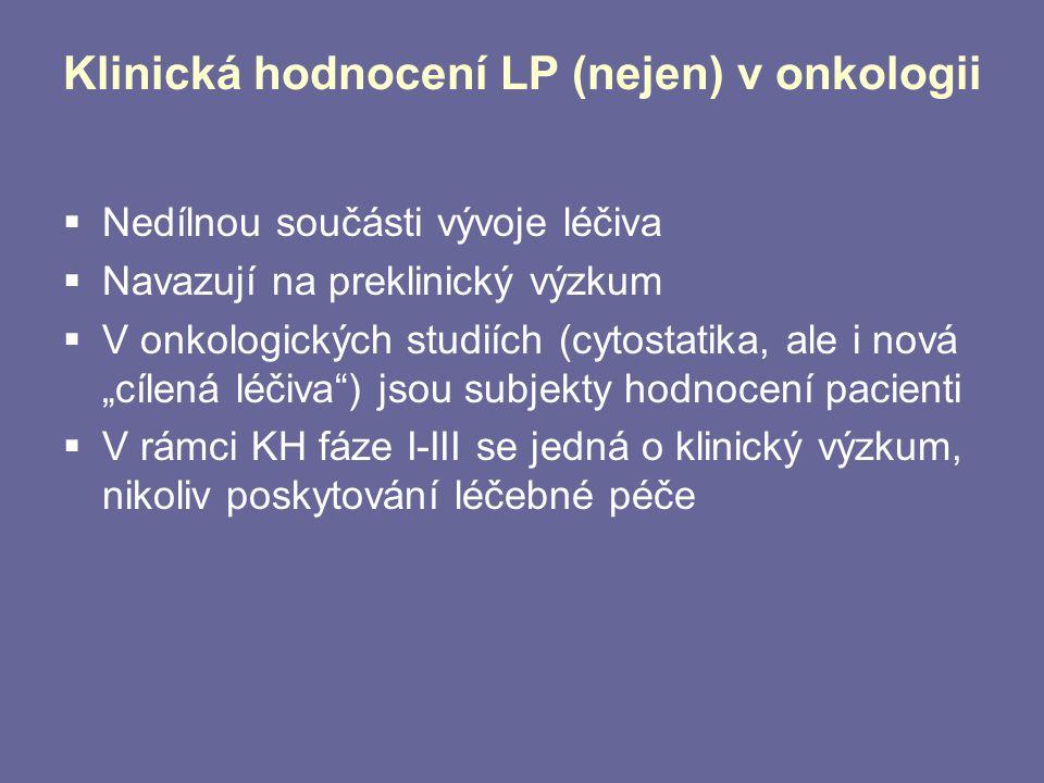 Klinická hodnocení LP (nejen) v onkologii  Bez KH by se nově vyvíjený LP nedostal do standardní klinické praxe X  Vždy jde o zvážení risk/benefitu pro subjekt hodnocení  Klinické stadium onemocnění (I-III vs IV)  Kurativní versus paliativní záměr