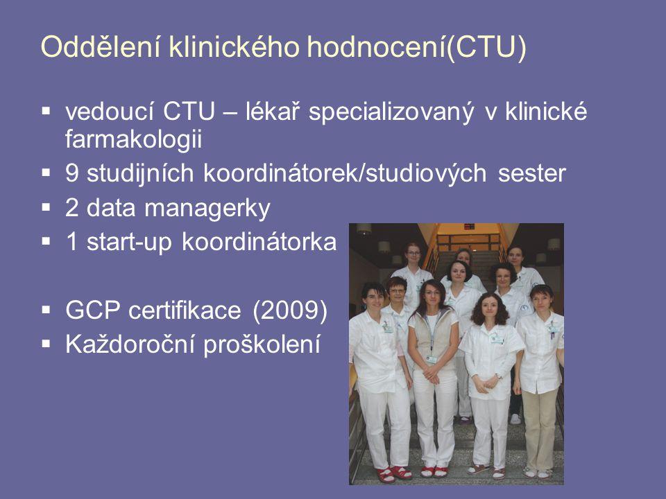 Oddělení klinického hodnocení(CTU)  vedoucí CTU – lékař specializovaný v klinické farmakologii  9 studijních koordinátorek/studiových sester  2 dat