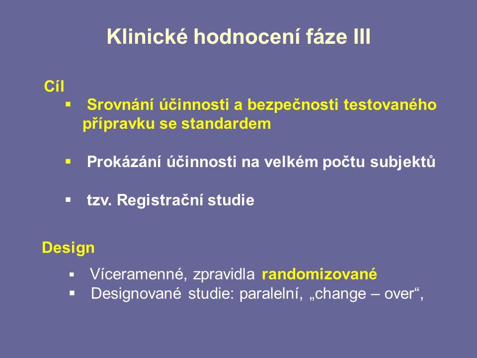 Klinické hodnocení fáze III  Srovnání účinnosti a bezpečnosti testovaného přípravku se standardem  Prokázání účinnosti na velkém počtu subjektů  tz