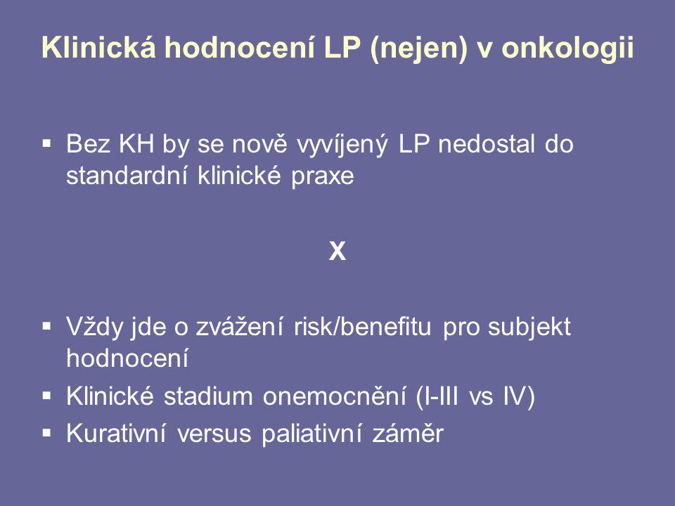 Klinická hodnocení LP (nejen) v onkologii  Bez KH by se nově vyvíjený LP nedostal do standardní klinické praxe X  Vždy jde o zvážení risk/benefitu p
