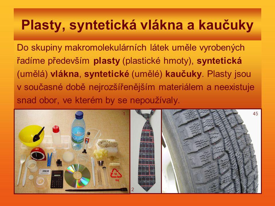 Plasty, syntetická vlákna a kaučuky Do skupiny makromolekulárních látek uměle vyrobených řadíme především plasty (plastické hmoty), syntetická (umělá) vlákna, syntetické (umělé) kaučuky.