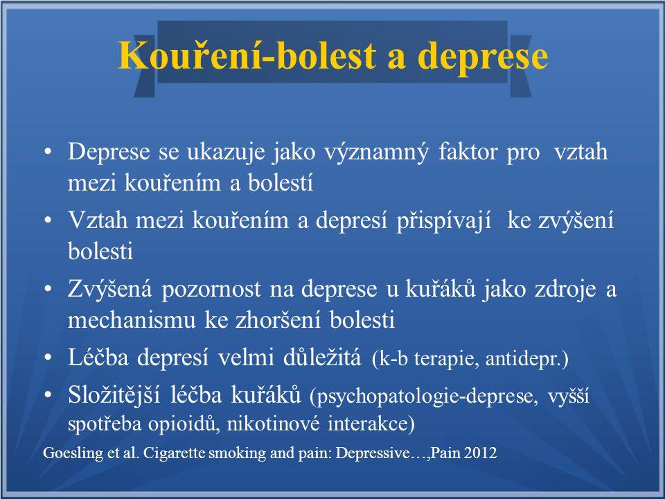 Kouření-bolest a deprese Deprese se ukazuje jako významný faktor pro vztah mezi kouřením a bolestí Vztah mezi kouřením a depresí přispívají ke zvýšení