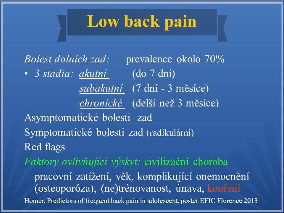Low back pain Bolest dolních zad: prevalence okolo 70% 3 stadia: akutní (do 7 dní) subakutní (7 dní - 3 měsíce) chronické (delší než 3 měsíce) Asympto