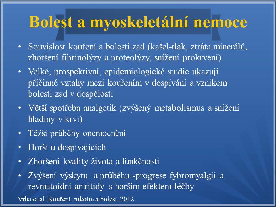 Bolest a myoskeletální nemoce Souvislost kouření a bolestí zad (kašel-tlak, ztráta minerálů, zhoršení fibrinolýzy a proteolýzy, snížení prokrvení) Vel