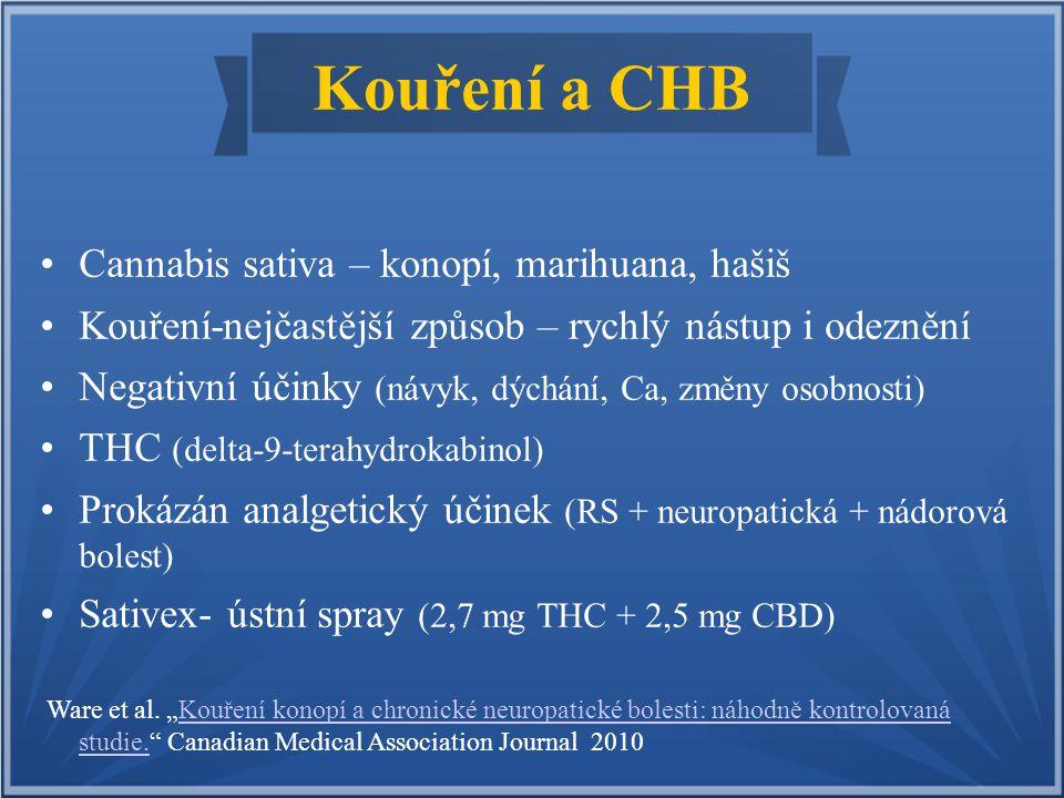Kouření a CHB Cannabis sativa – konopí, marihuana, hašiš Kouření-nejčastější způsob – rychlý nástup i odeznění Negativní účinky (návyk, dýchání, Ca, z