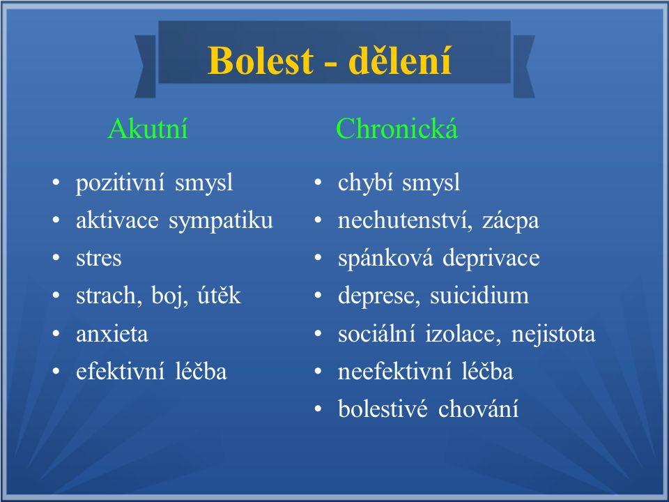 Bolest - podle původu Nádorová - cancer pain Bolest provázející onemocnění maligní-nádorové etiologie.
