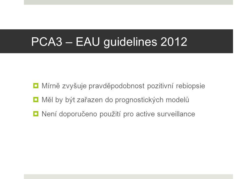 PCA3 – EAU guidelines 2012  Není doporučeno použití pro active surveillance  Mírně zvyšuje pravděpodobnost pozitivní rebiopsie  Měl by být zařazen