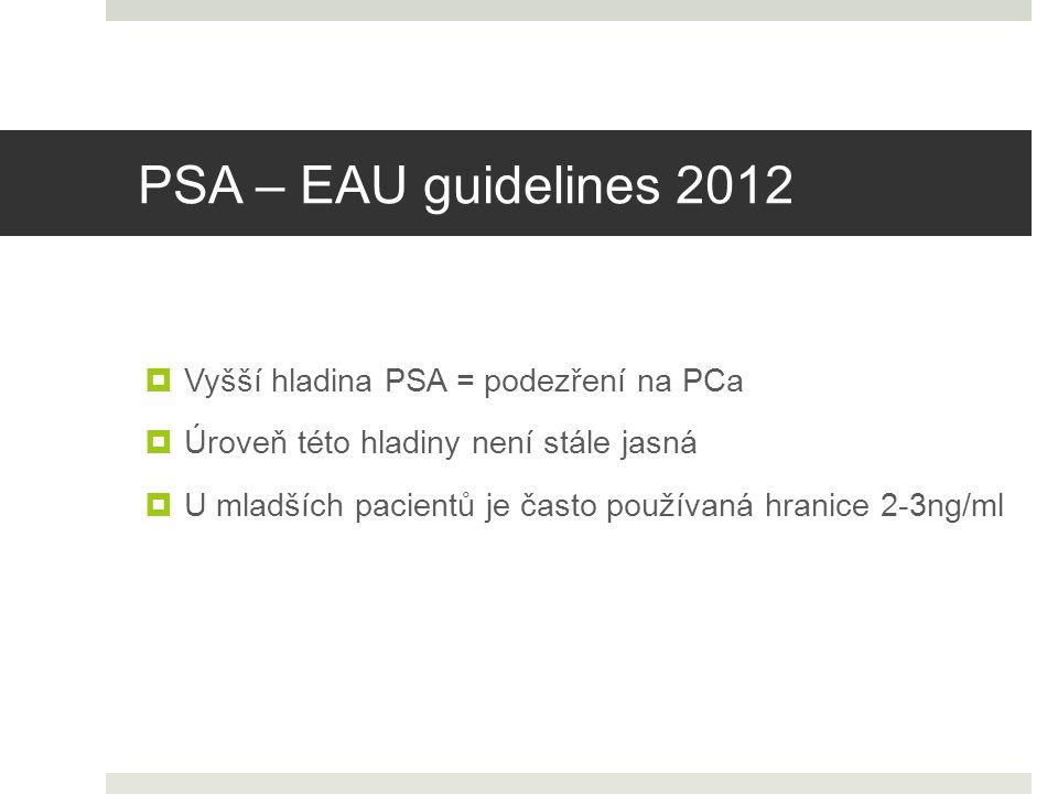 PSA – EAU guidelines 2012  U mladších pacientů je často používaná hranice 2-3ng/ml  Vyšší hladina PSA = podezření na PCa  Úroveň této hladiny není