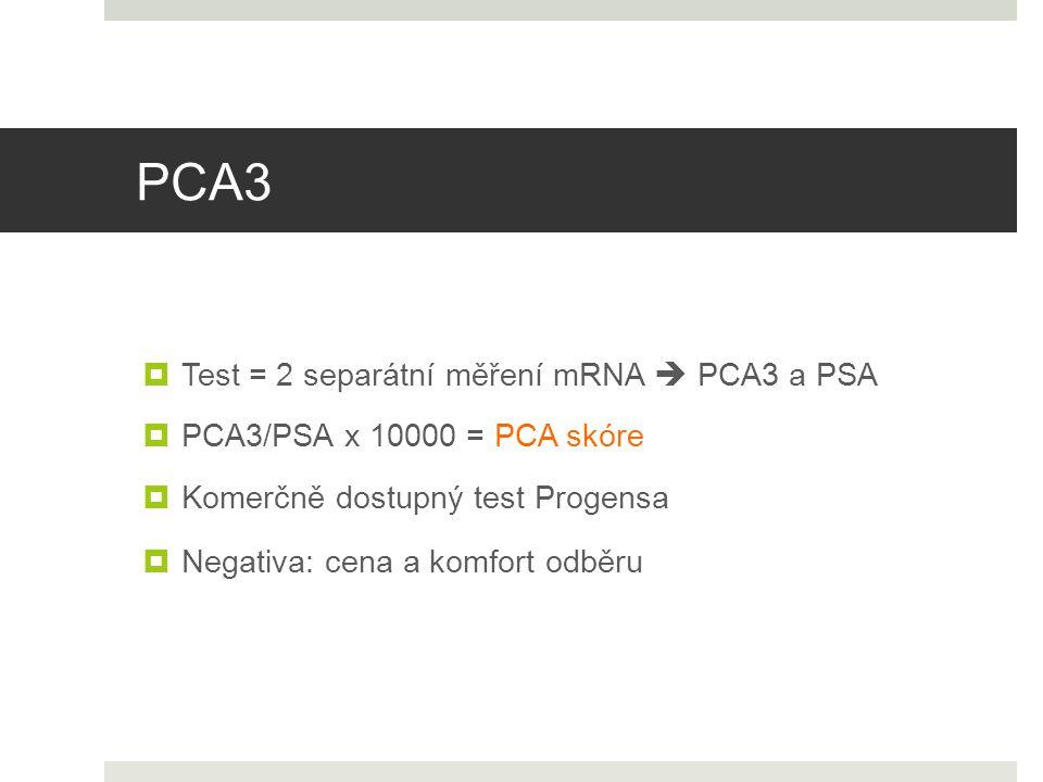 PCA3  Komerčně dostupný test Progensa  Negativa: cena a komfort odběru  Test = 2 separátní měření mRNA  PCA3 a PSA  PCA3/PSA x 10000 = PCA skóre
