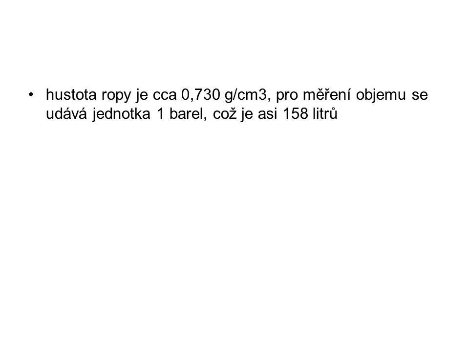 hustota ropy je cca 0,730 g/cm3, pro měření objemu se udává jednotka 1 barel, což je asi 158 litrů