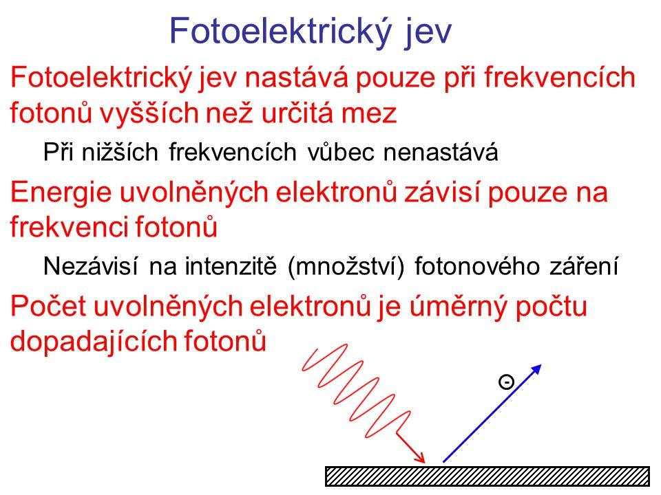 Fotoelektrický jev Vysvětlení 1)Ke srážce dochází na úrovni jednoho fotonu a jednoho elektronu  nemá-li foton dostatečnou energii nemůže dojít k fotoefektu 2)S rostoucí frekvencí fotonů roste jejich energii a tím kinetická energie uvolněných elektronů 3)Vyšší počet dopadajících fotonů  více srážek a více uvolněných elektronů E f...