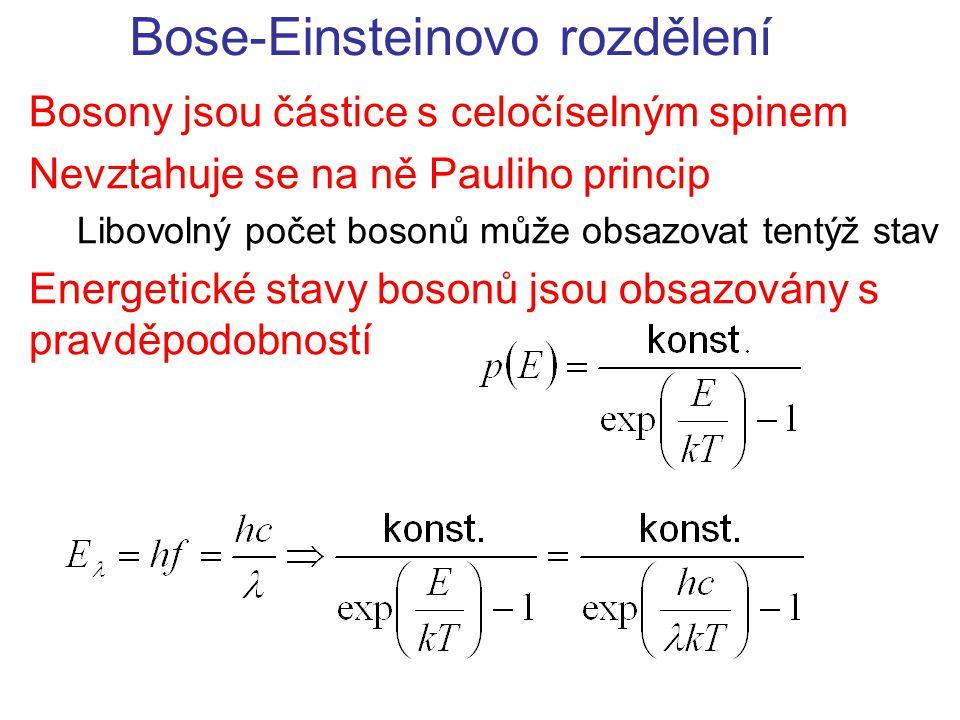 Bose-Einsteinovo rozdělení Bosony jsou částice s celočíselným spinem Nevztahuje se na ně Pauliho princip Libovolný počet bosonů může obsazovat tentýž