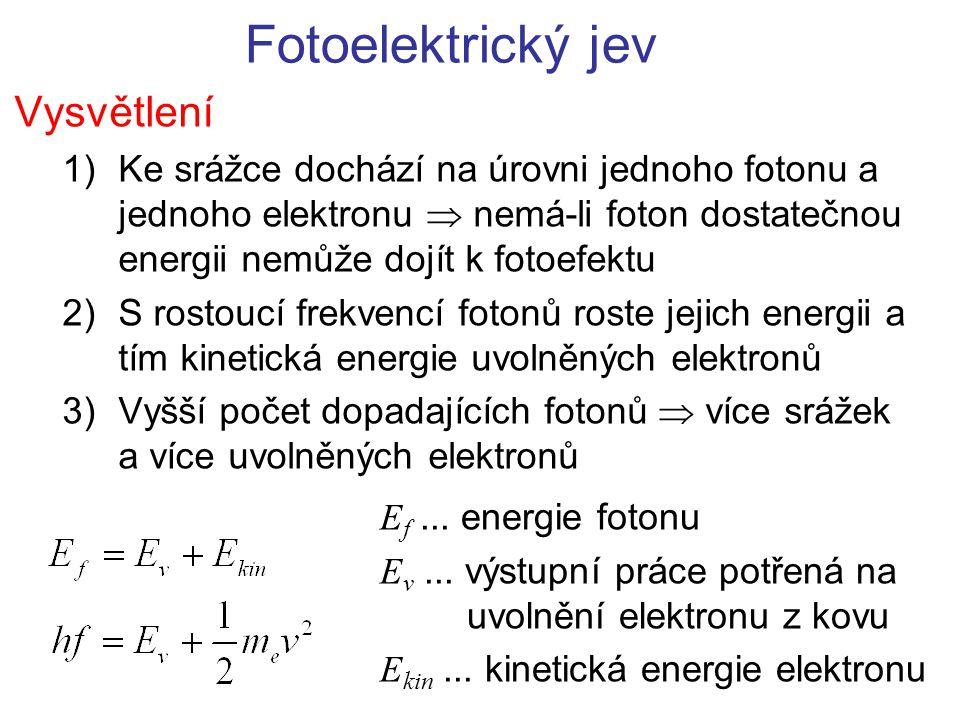 Fotoelektrický jev Vysvětlení 1)Ke srážce dochází na úrovni jednoho fotonu a jednoho elektronu  nemá-li foton dostatečnou energii nemůže dojít k foto
