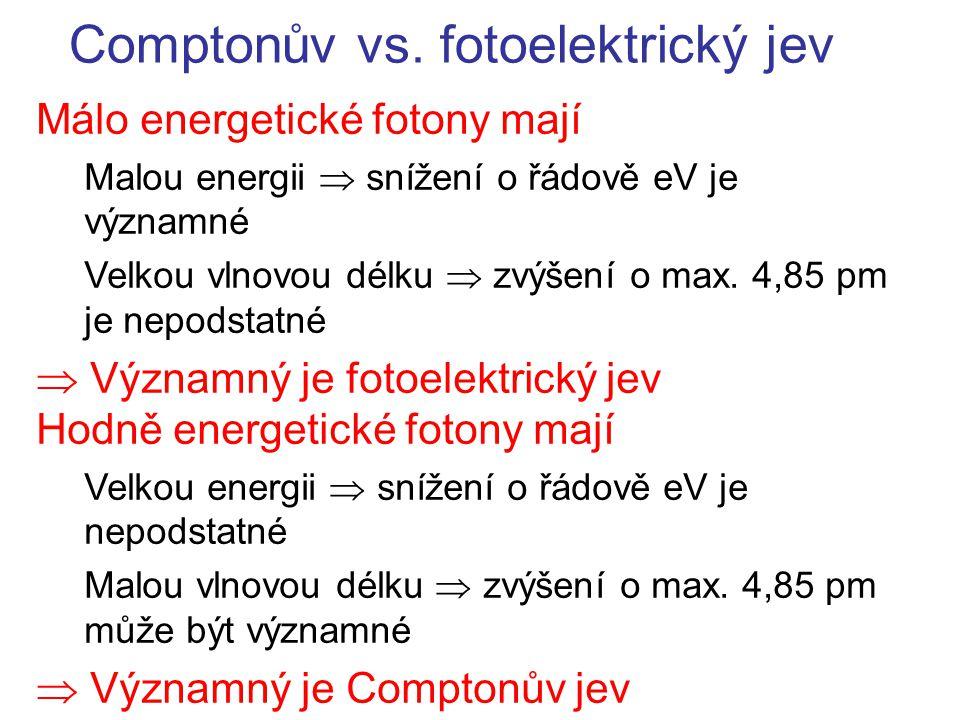 Comptonův vs. fotoelektrický jev Málo energetické fotony mají Malou energii  snížení o řádově eV je významné Velkou vlnovou délku  zvýšení o max. 4,