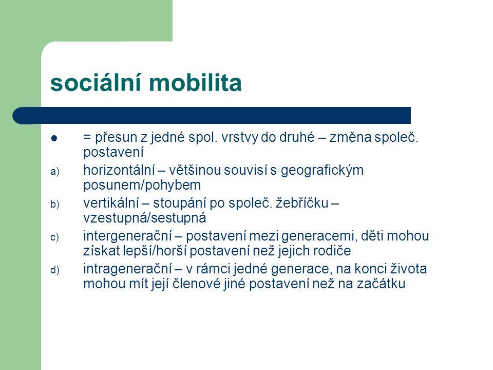 sociální mobilita = přesun z jedné spol.vrstvy do druhé – změna společ.