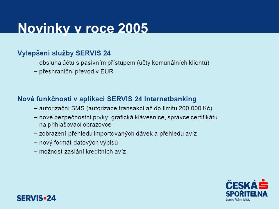 Novinky v roce 2005 Vylepšení služby SERVIS 24 –obsluha účtů s pasivním přístupem (účty komunálních klientů) –přeshraniční převod v EUR Nové funkčnost
