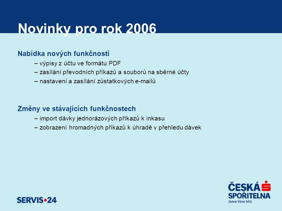 Novinky pro rok 2006 Nabídka nových funkčností –výpisy z účtu ve formátu PDF –zasílání převodních příkazů a souborů na sběrné účty –nastavení a zasílá
