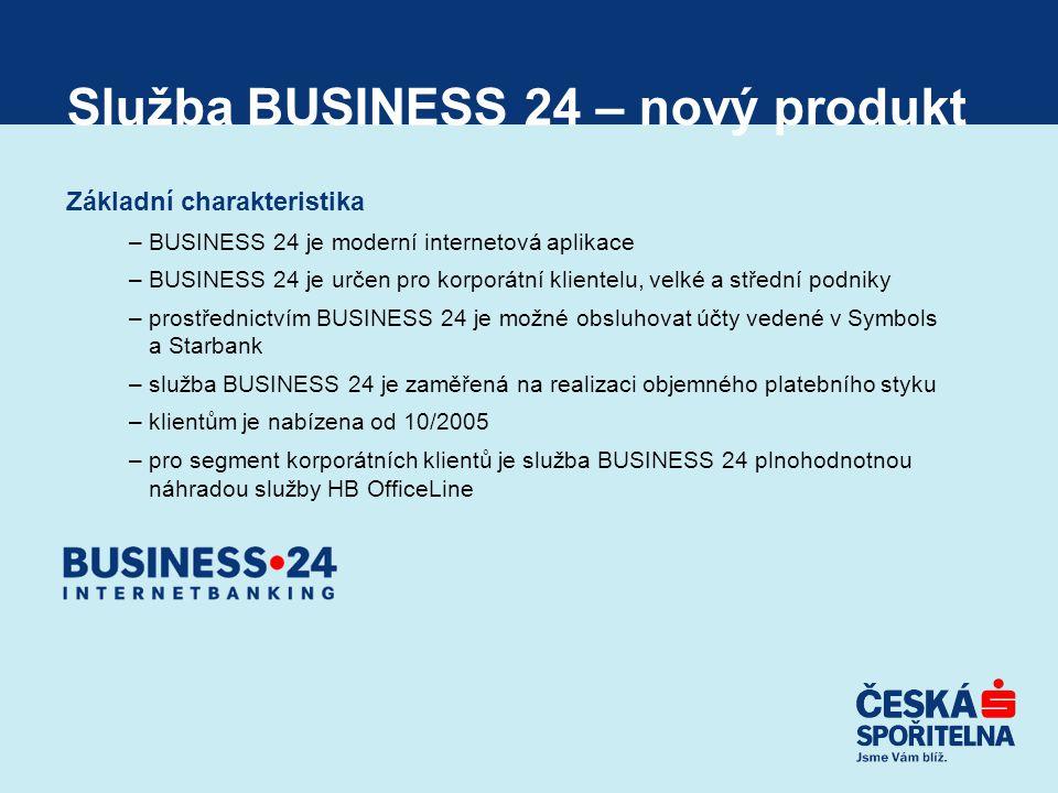 Služba BUSINESS 24 – nový produkt Základní charakteristika –BUSINESS 24 je moderní internetová aplikace –BUSINESS 24 je určen pro korporátní klientelu