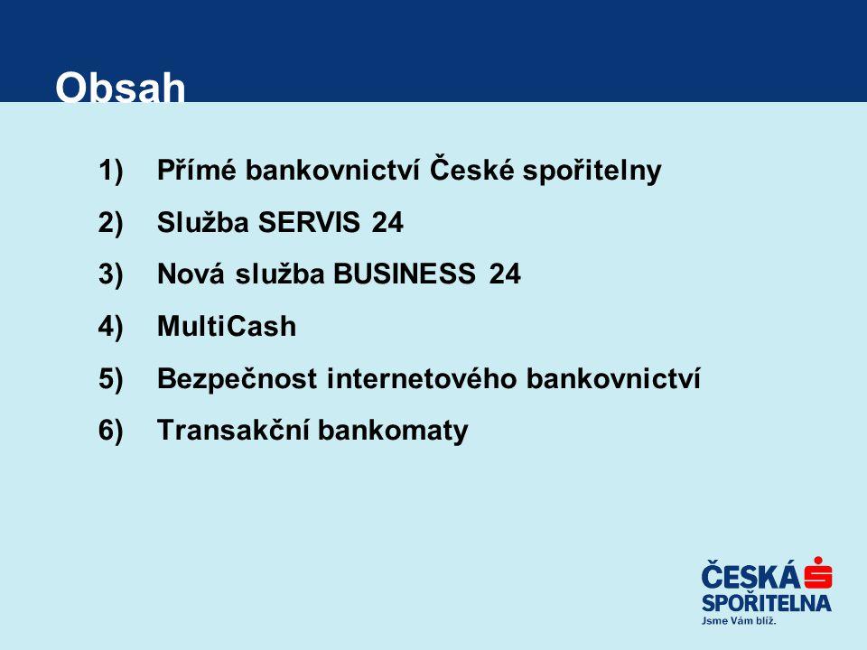 """SERVIS 24 GSM Banking Specifika služby –nutnost používat """"bankovní SIM kartu –nezávislost přihlašovacích údajů (bankovní PIN) na standardních přihlašovacích údajích služby SERVIS 24 –vzájemná nezávislost jednotlivých registrovaných SIM karet (lze deaktivovat jednu SIM kartu a dál využívat GSM banking prostřednictvím ostatních SIM karet) –obsahuje prvek vyšší bezpečnosti již ve svém standardu Výhody –jednoduché zadávání základních aktivních transakcí (díky vyšší bezpečnosti omezených pouze limitem účtu, případně uživatele) –okamžité dobíjení kreditu a plateb za další mobilní služby (např."""
