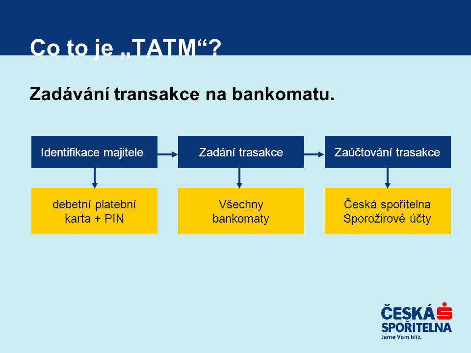 """Co to je """"TATM""""? Zadávání transakce na bankomatu. Identifikace majiteleZadání trasakceZaúčtování trasakce debetní platební karta + PIN Všechny bankoma"""