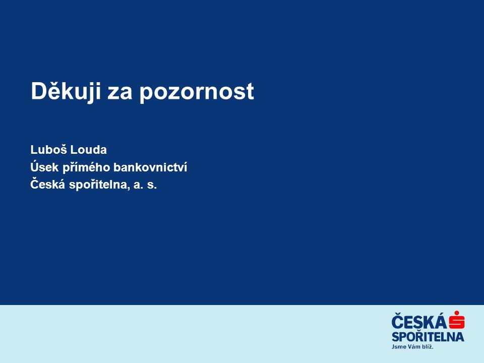 Děkuji za pozornost Luboš Louda Úsek přímého bankovnictví Česká spořitelna, a. s.
