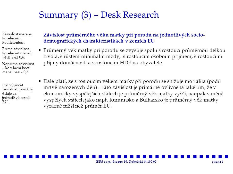 IBRS s.r.o., Prague 10, Dubečská 8, 100 00strana 6 Summary (3) – Desk Research Závislost průměrného věku matky při porodu na jednotlivých socio- demog
