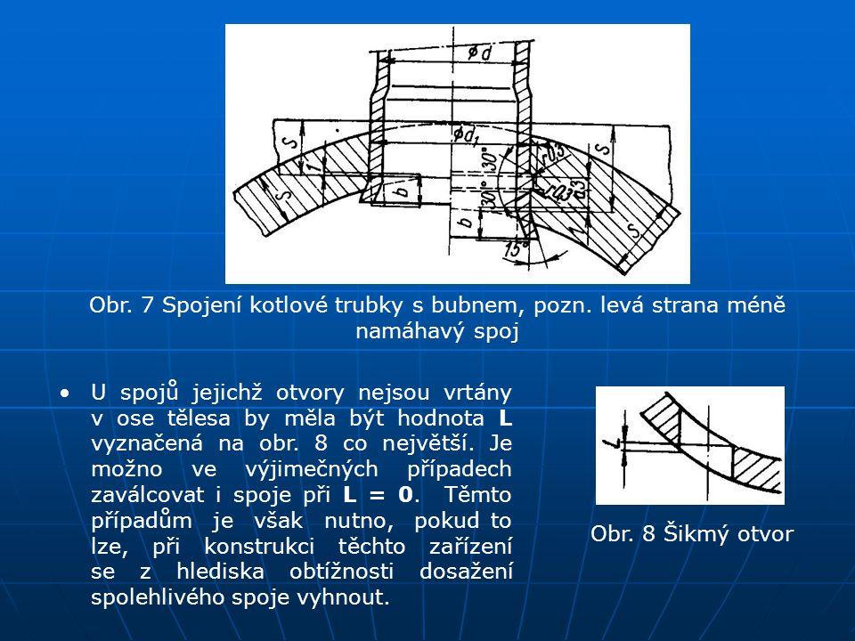 Obr. 7 Spojení kotlové trubky s bubnem, pozn. levá strana méně namáhavý spoj U spojů jejichž otvory nejsou vrtány v ose tělesa by měla být hodnota L v
