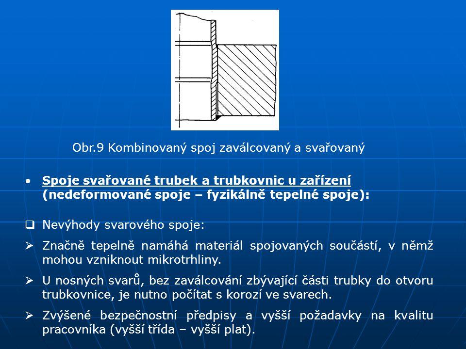 Obr.9 Kombinovaný spoj zaválcovaný a svařovaný Spoje svařované trubek a trubkovnic u zařízení (nedeformované spoje – fyzikálně tepelné spoje):  Nevýh