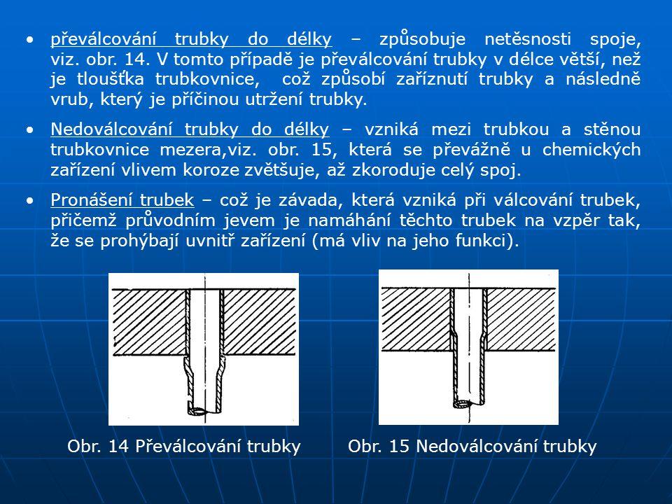převálcování trubky do délky – způsobuje netěsnosti spoje, viz. obr. 14. V tomto případě je převálcování trubky v délce větší, než je tloušťka trubkov