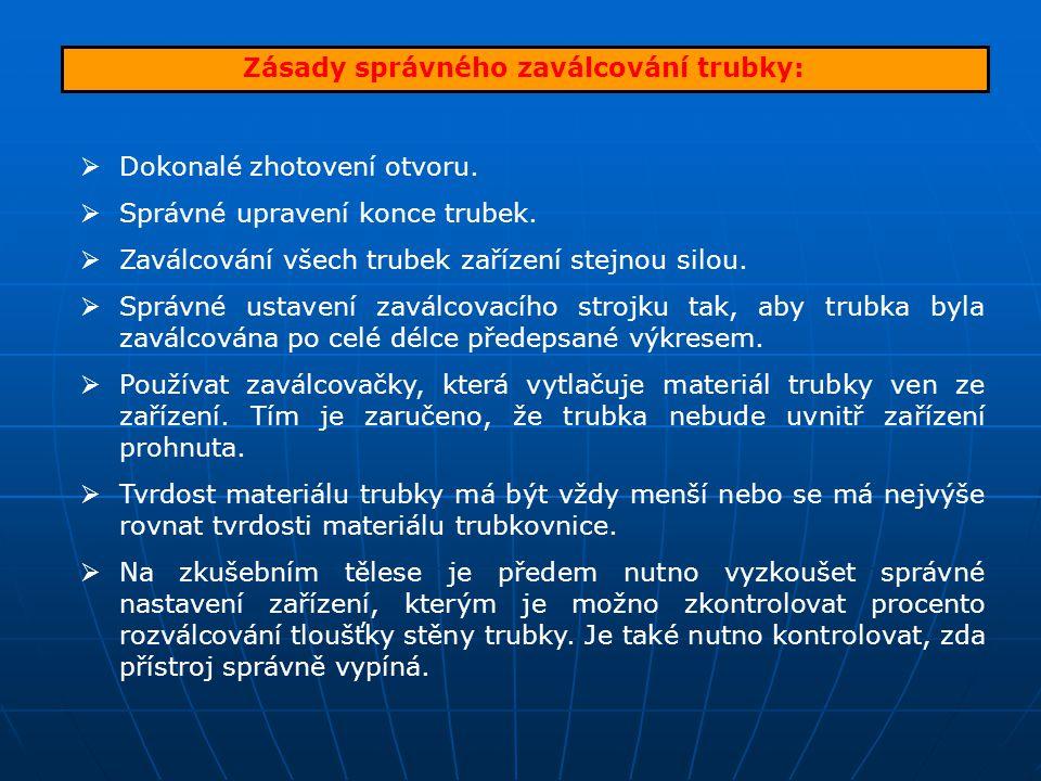 Zásady správného zaválcování trubky:  Dokonalé zhotovení otvoru.  Správné upravení konce trubek.  Zaválcování všech trubek zařízení stejnou silou.