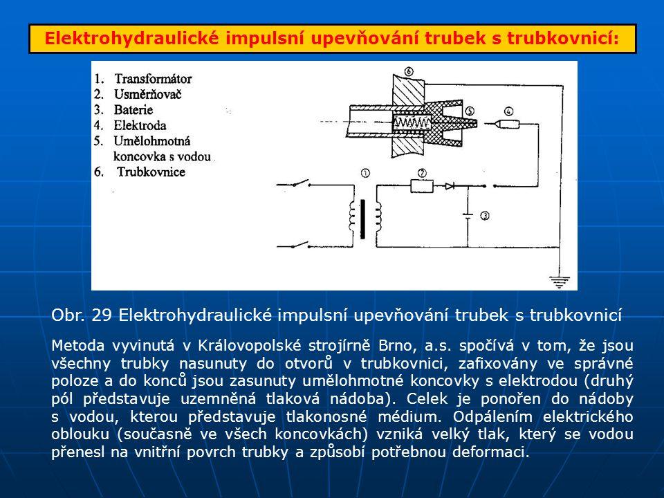 Elektrohydraulické impulsní upevňování trubek s trubkovnicí: Obr. 29 Elektrohydraulické impulsní upevňování trubek s trubkovnicí Metoda vyvinutá v Krá