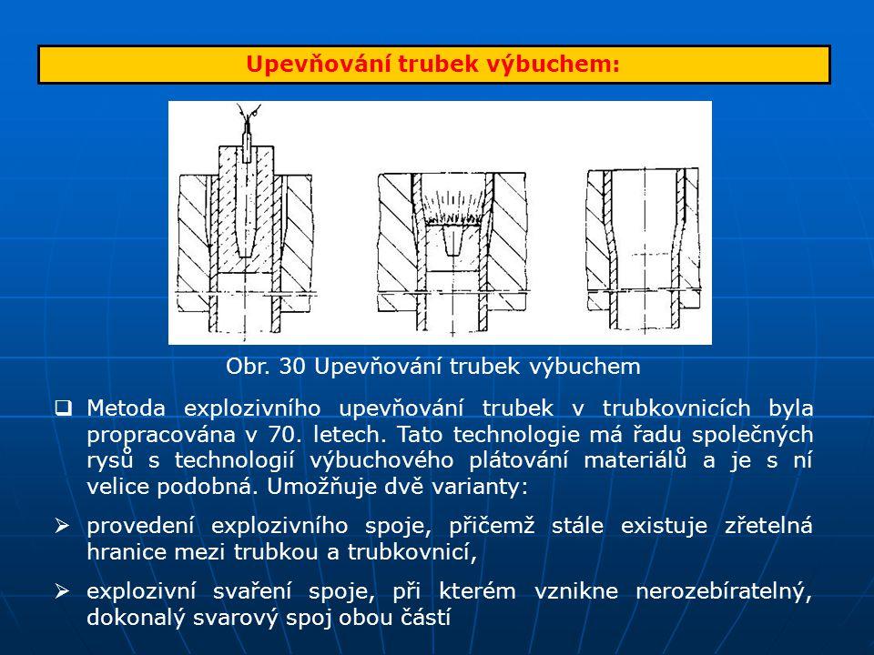 Upevňování trubek výbuchem: Obr. 30 Upevňování trubek výbuchem  Metoda explozivního upevňování trubek v trubkovnicích byla propracována v 70. letech.
