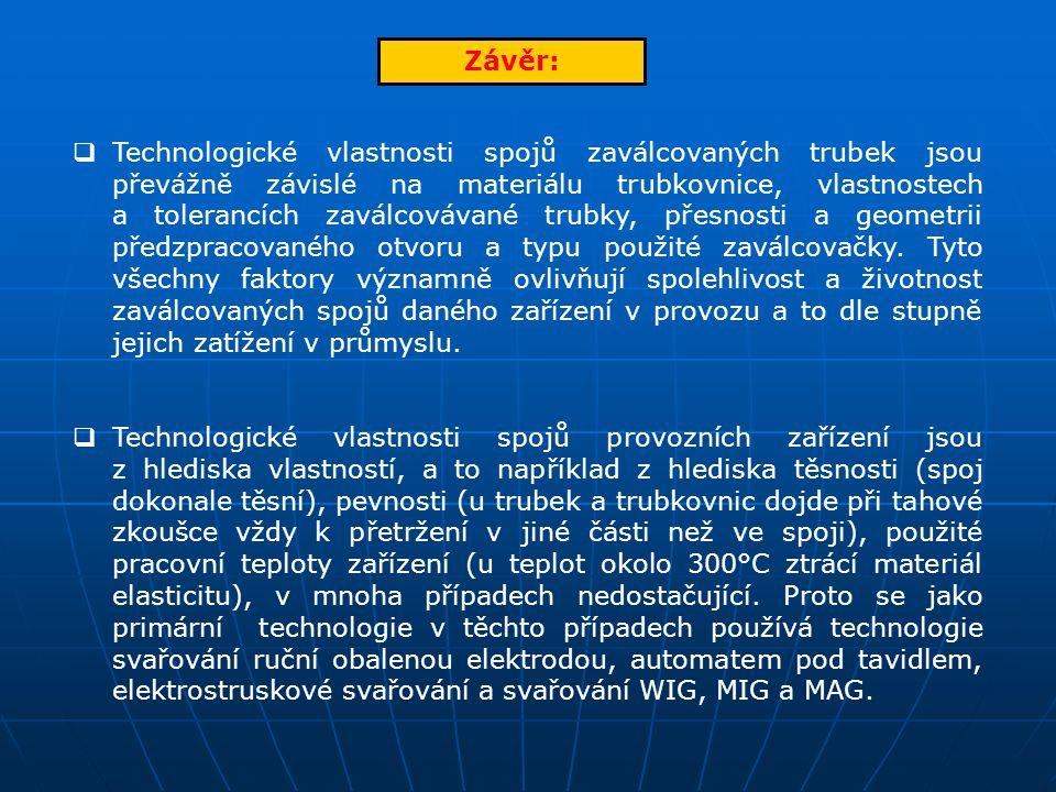 Závěr:  Technologické vlastnosti spojů zaválcovaných trubek jsou převážně závislé na materiálu trubkovnice, vlastnostech a tolerancích zaválcovávané