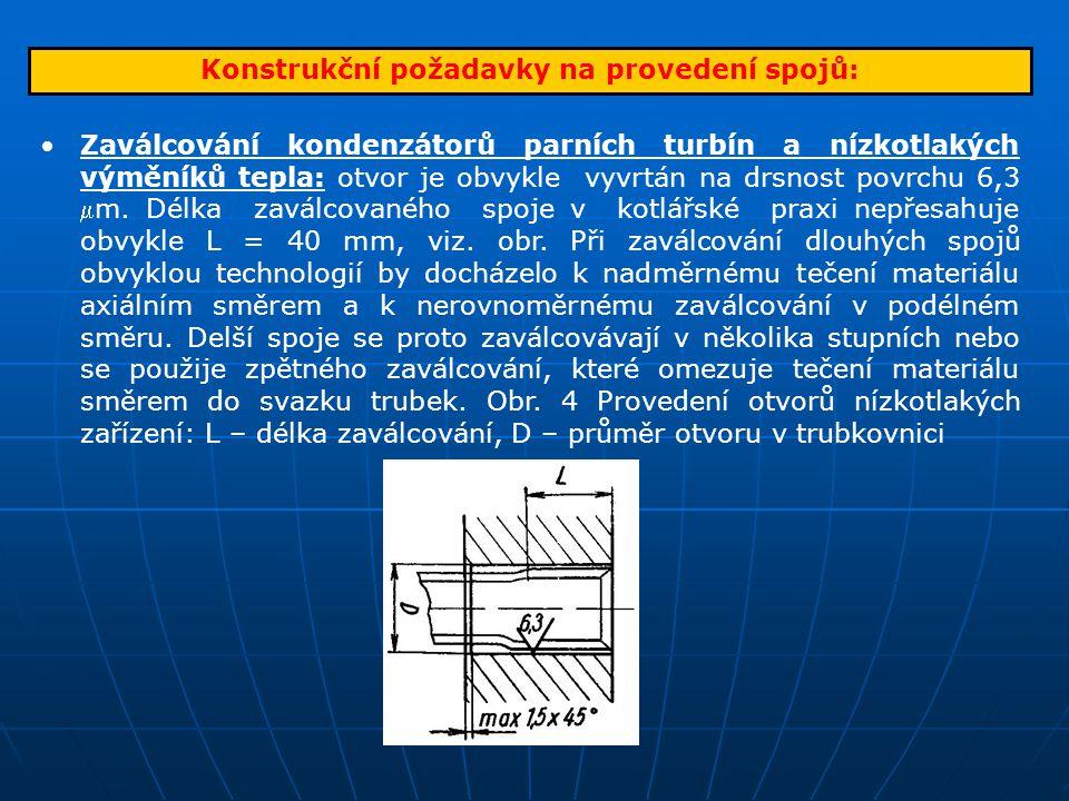 Konstrukční požadavky na provedení spojů: Zaválcování kondenzátorů parních turbín a nízkotlakých výměníků tepla: otvor je obvykle vyvrtán na drsnost p