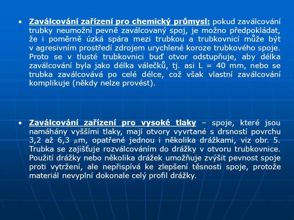 Zaválcování zařízení pro chemický průmysl: pokud zaválcování trubky neumožní pevně zaválcovaný spoj, je možno předpokládat, že i poměrně úzká spára me