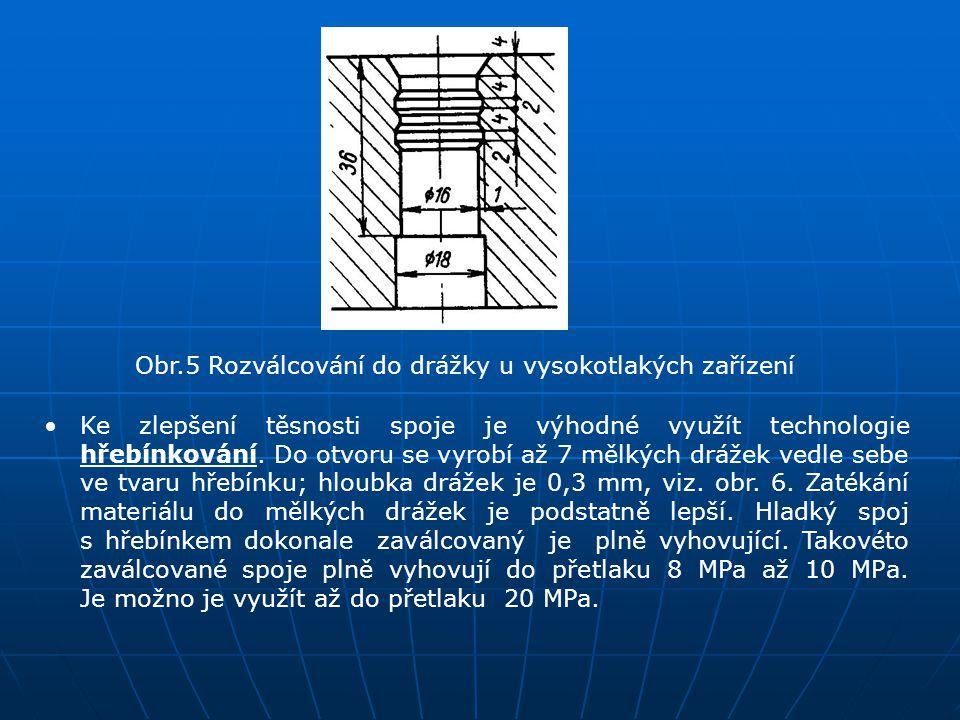 Obr.5 Rozválcování do drážky u vysokotlakých zařízení Ke zlepšení těsnosti spoje je výhodné využít technologie hřebínkování. Do otvoru se vyrobí až 7