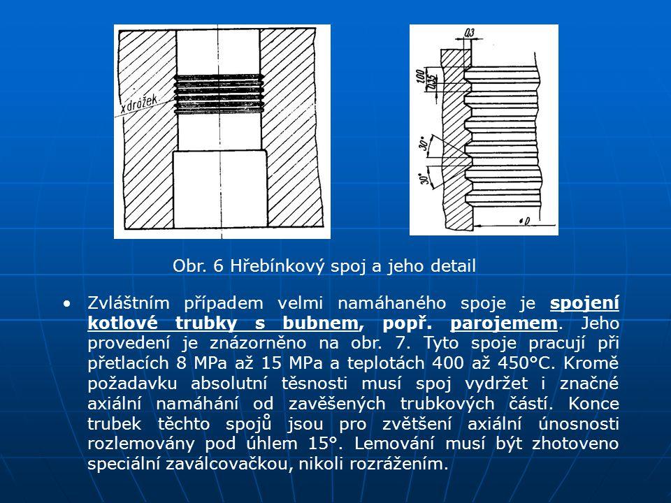 Obr. 6 Hřebínkový spoj a jeho detail Zvláštním případem velmi namáhaného spoje je spojení kotlové trubky s bubnem, popř. parojemem. Jeho provedení je