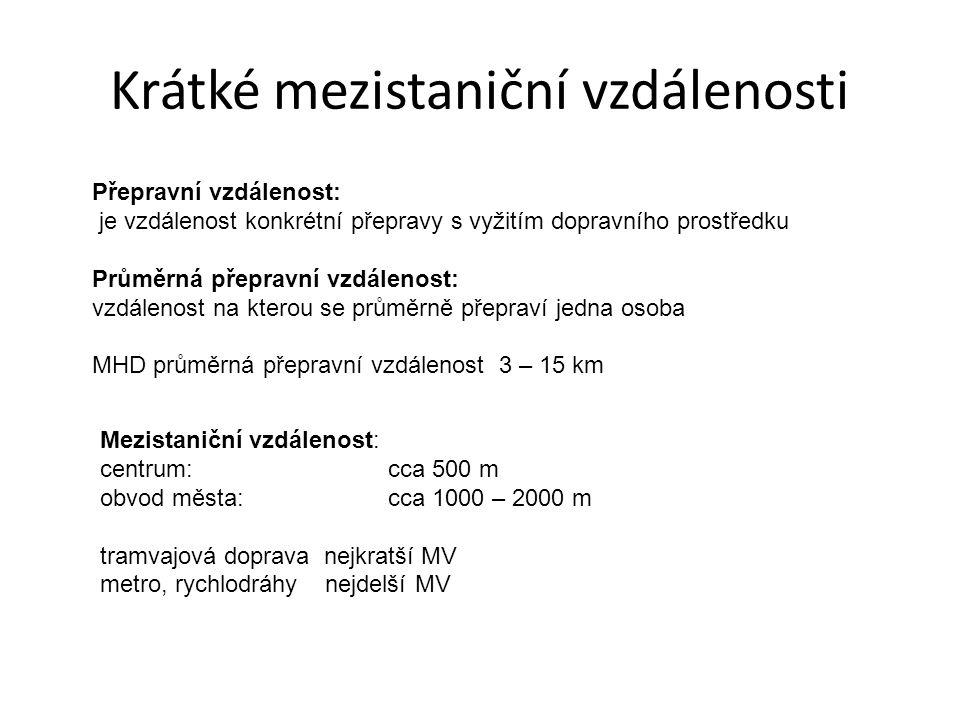 Krátké mezistaniční vzdálenosti Přepravní vzdálenost: je vzdálenost konkrétní přepravy s vyžitím dopravního prostředku Průměrná přepravní vzdálenost: